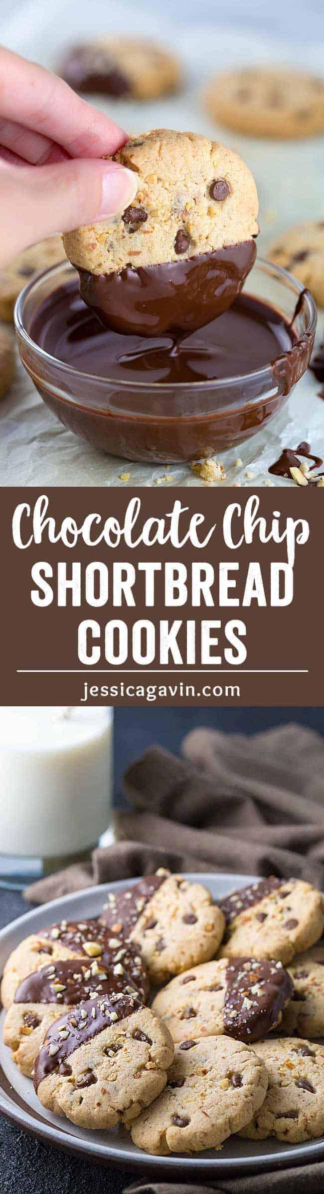 Gluten Free Almond Chocolate Chip Shortbread Cookies | Jessica Gavin