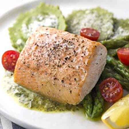Roasted Salmon with Asparagus Ravioli