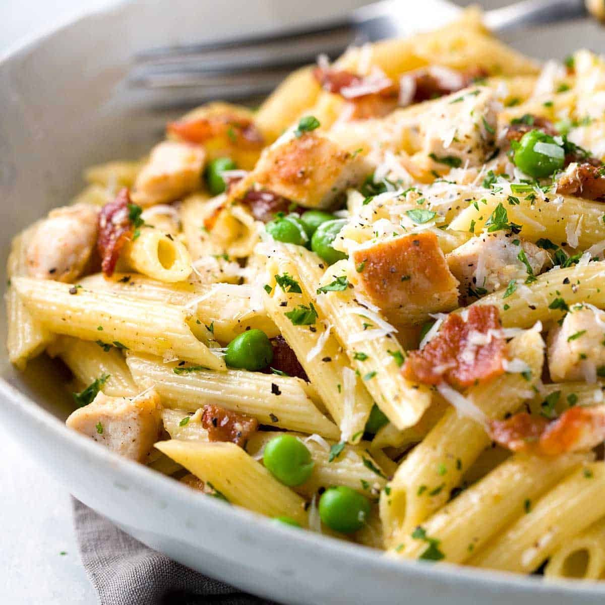 One Pan Chicken Carbonara With Penne Pasta