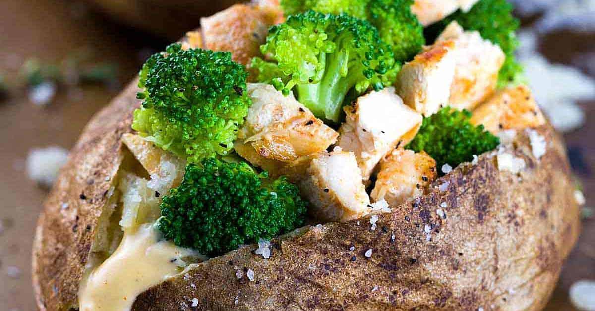 Chicken broccoli stuffed baked potato