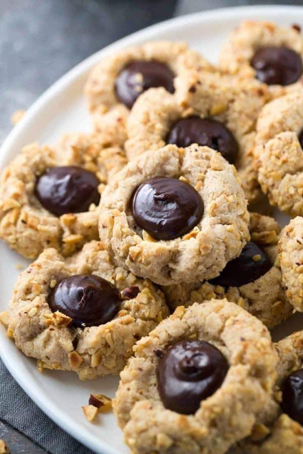 Hazelnut thumbprint cookies with chocolate ganache middle