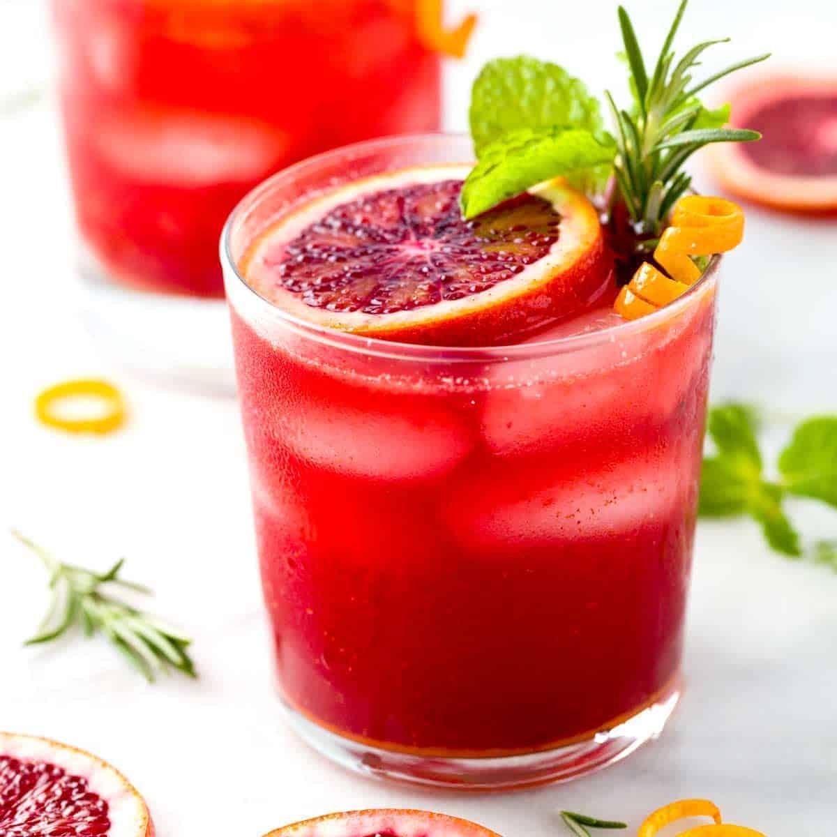 Sparkling Blood Orange Mocktail With Turmeric