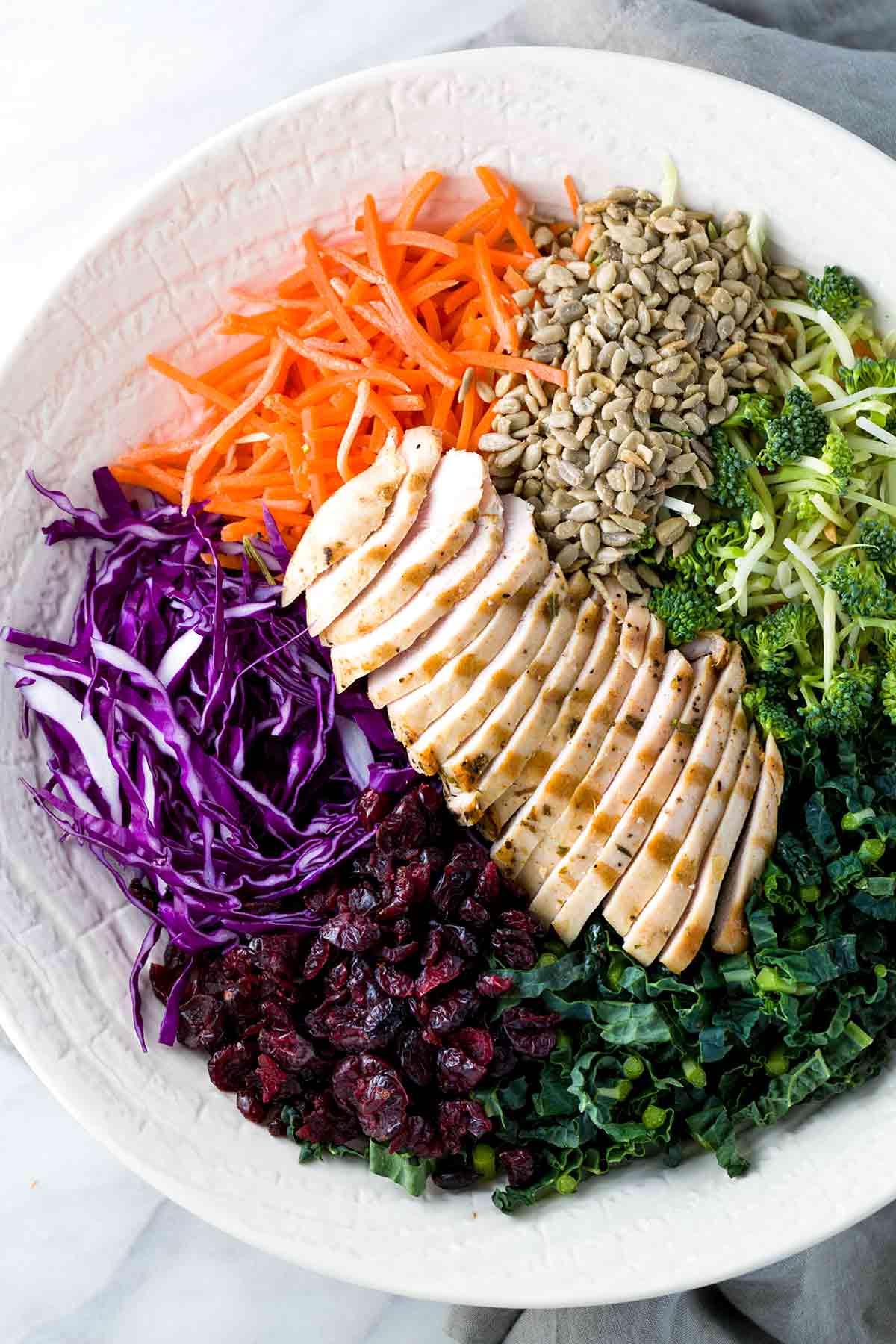 Ingredients for a delicious broccoli slaw salad