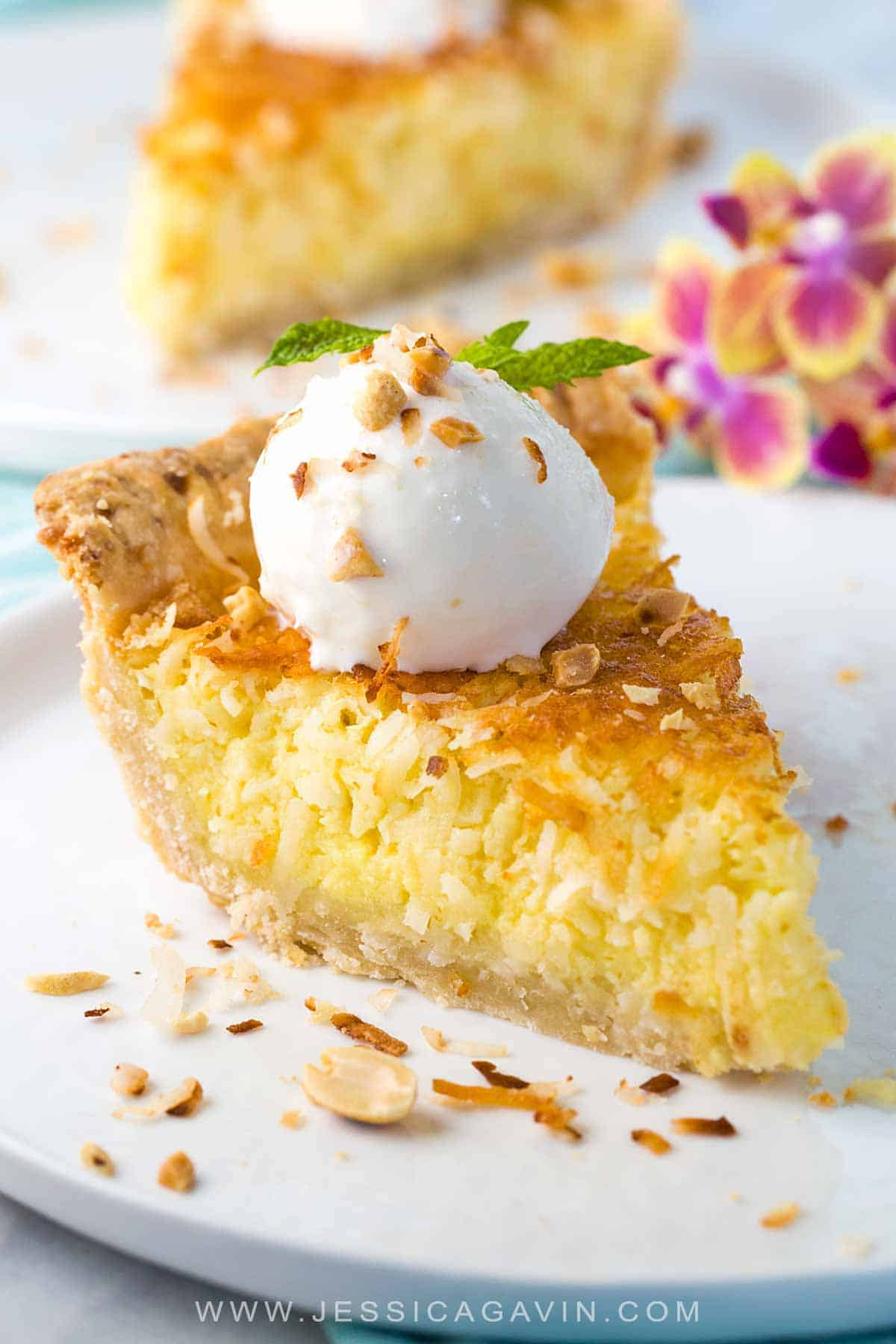 Coconut custard pie recipe with a flaky crust and egg custard filling. This tropical dessert is best served warm with a scoop of vanilla bean ice cream. #custardpie #coconut #vanillabean #dessert #pie
