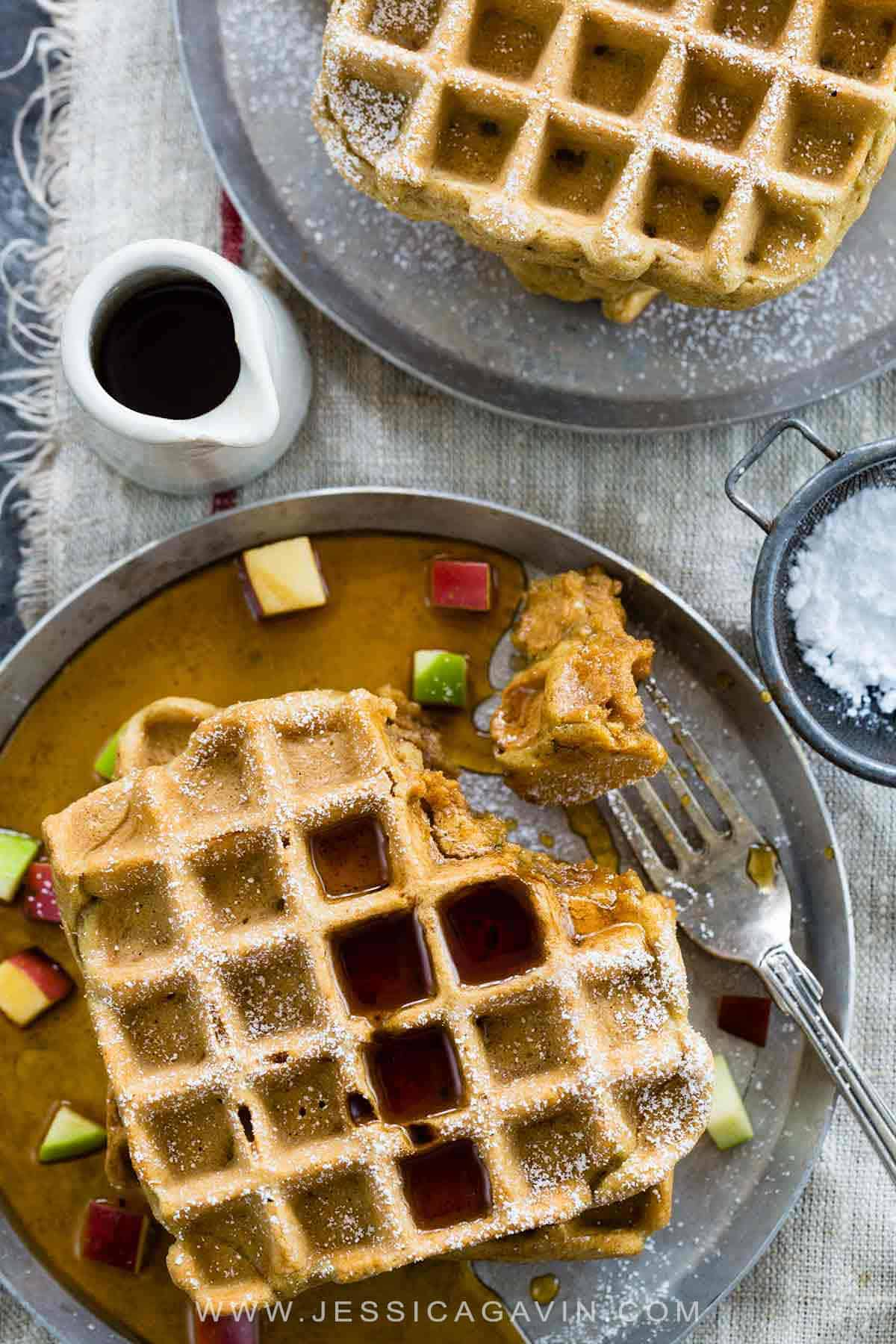 Gluten free waffles with apples and cinnamon make for an easy breakfast solution! Plus, they can be frozen and toasted later for an easy make-ahead meal. #glutenfree #breakfast #waffles