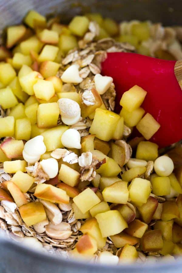 A bowl of oats, white chocolate chips and diced apples