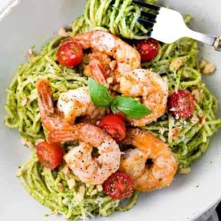30-Minute Pesto Shrimp Pasta
