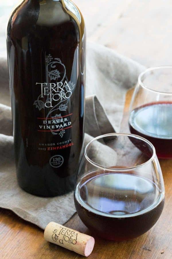 Terra d'Oro 2015 Zinfandel bottle and glass of wine