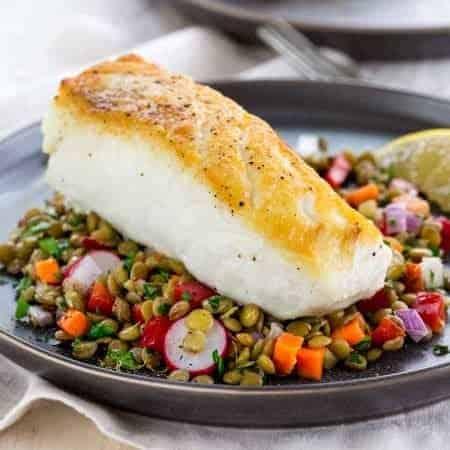 Pan Roasted Halibut with Lentil Salad