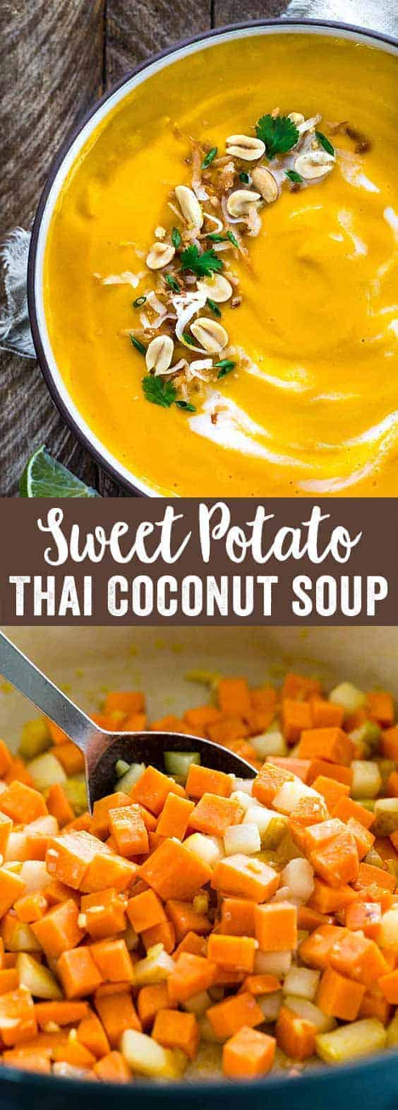Thai coconut soup made with bold, exotic flavors! This recipe uses sweet potatoes and pears for a light and healthy twist on a favorite Asian dish.