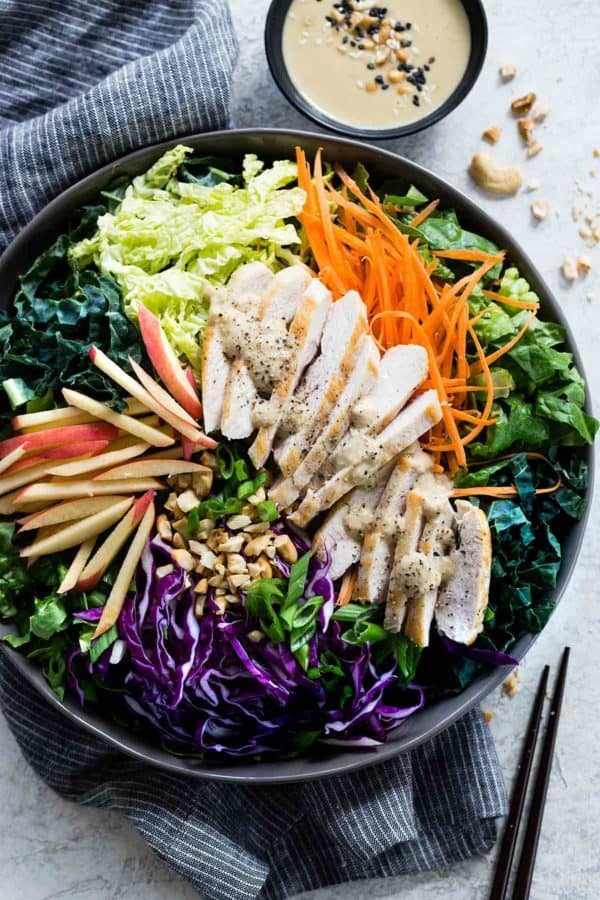 Large bowl of Asian chicken salad ingredients before being mixed together