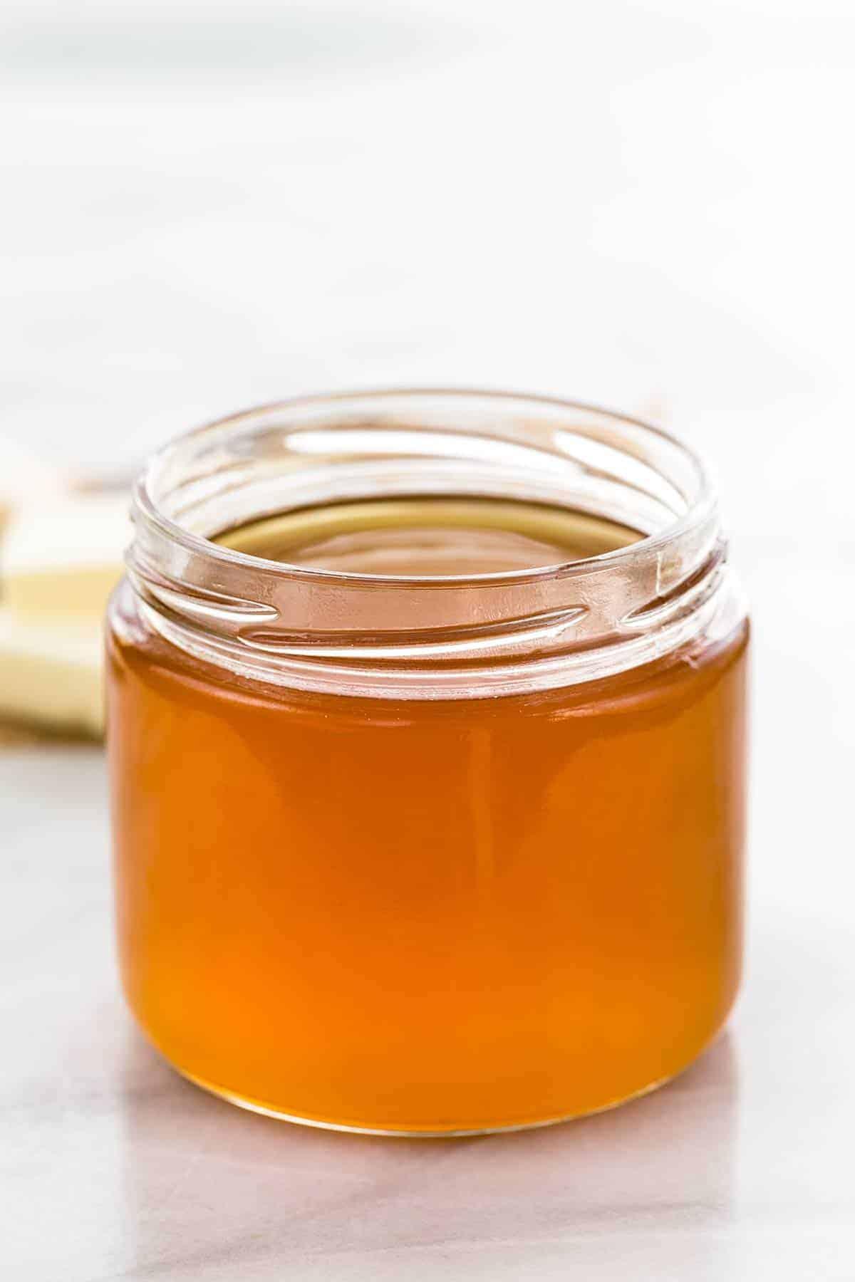 Homemade ghee in a glass jar