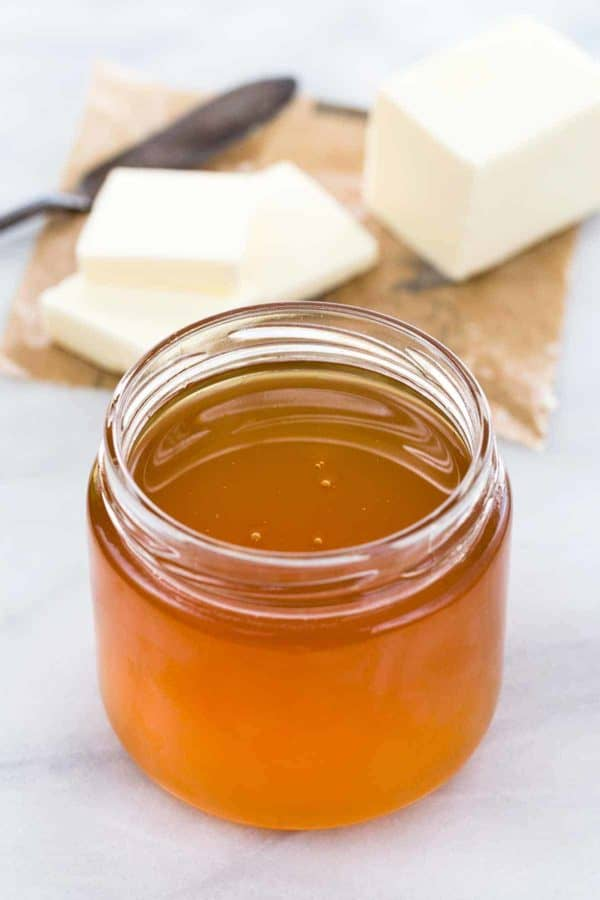 How to make ghee from butter for cooking and baking. A step-by-step guide for the butter clarification process for producing richly flavored oil with nutty and toffee flavors.