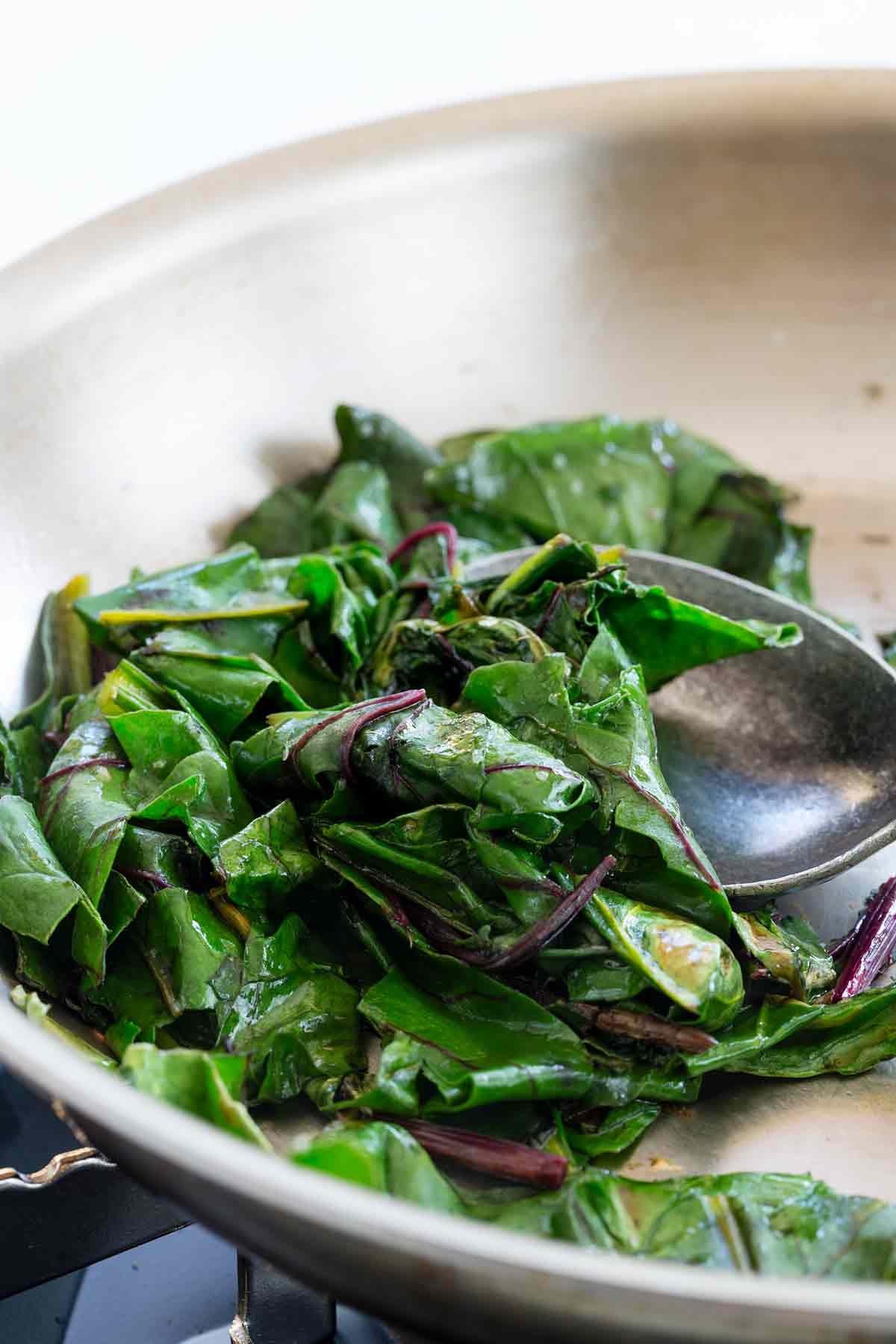 Pan frying beet greens