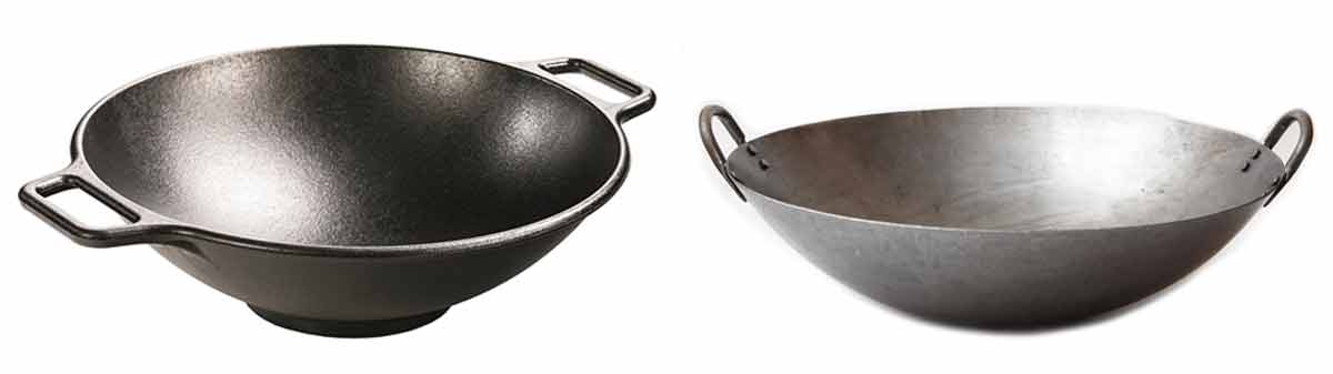 Two images of canton-style Chinese woks