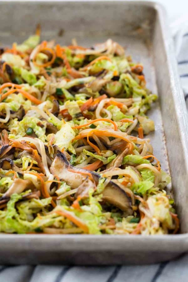 Baking sheet with egg roll filling