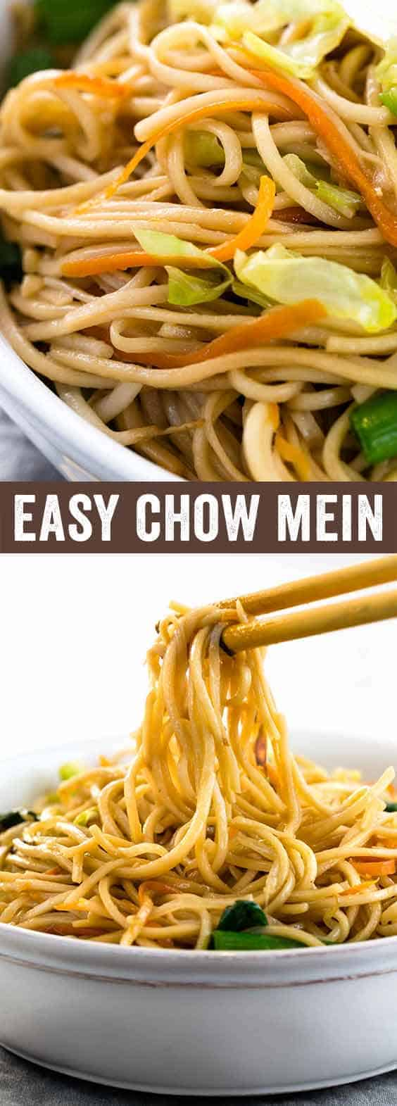 Chinese chow mein noodles tossed in an authentic savory sauce. The noodles are stir-fried with cabbage, carrots, bean sprouts, green onions, ginger and garlic for a flavorful vegetarian dish. A recipe ready in less than 30 minutes or less!