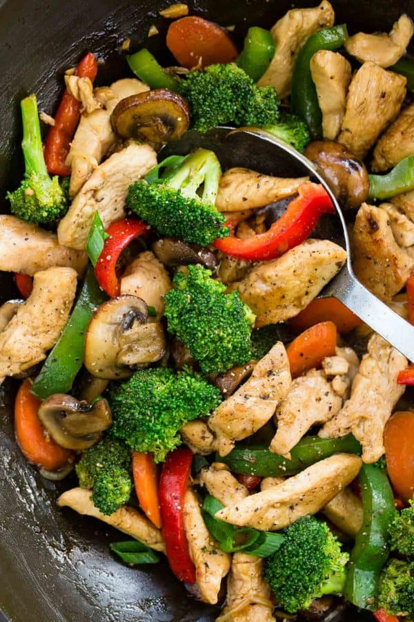A wok filled with cooked chicken, mushrooms, peppers, and broccoli