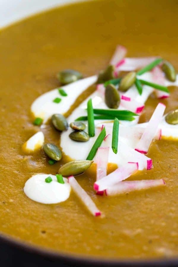 Close up of greek yogurt, sliced radish, and green onions as garnish