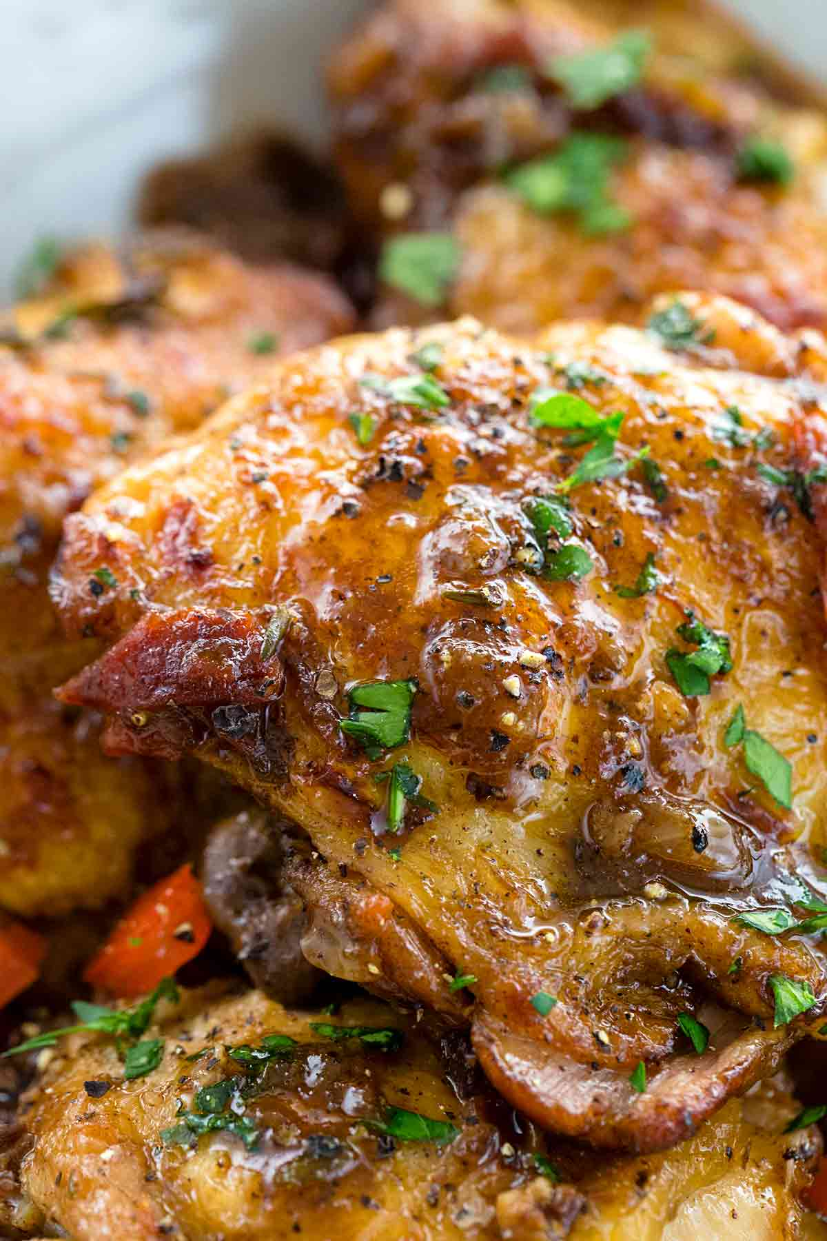 Closeup photo of balsamic chicken thighs