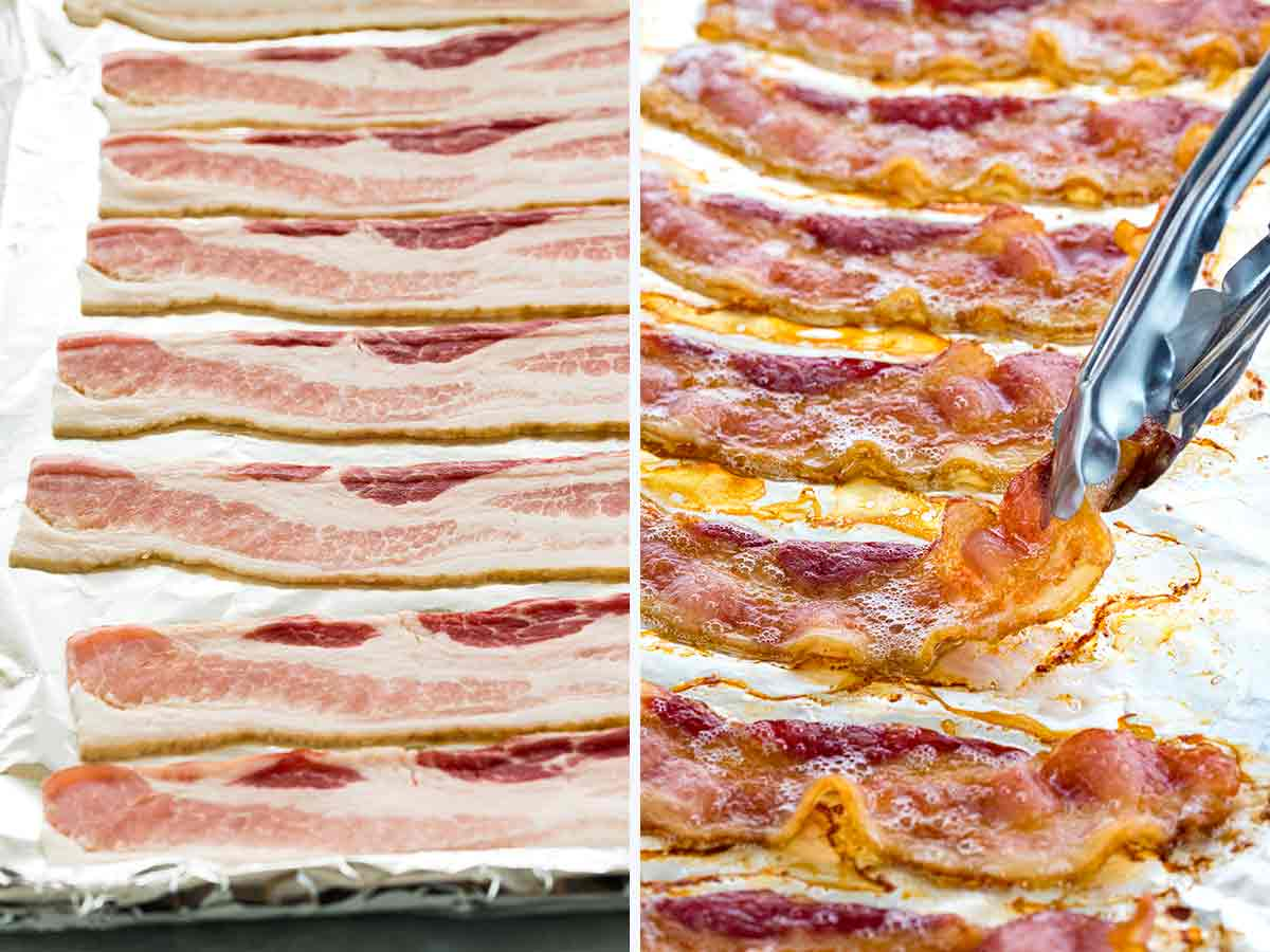 Photo of bacon before and after baking in the oven