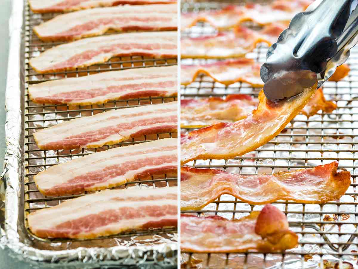 Before and after cooking bacon on a cooling rack