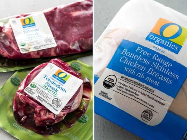 Two photos side-by-side of Paleo Diet approved organic steak and chicken in their packaging