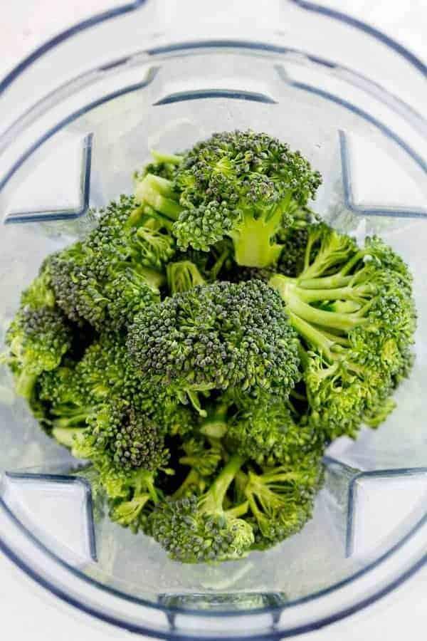 Broccoli florets inside a blender