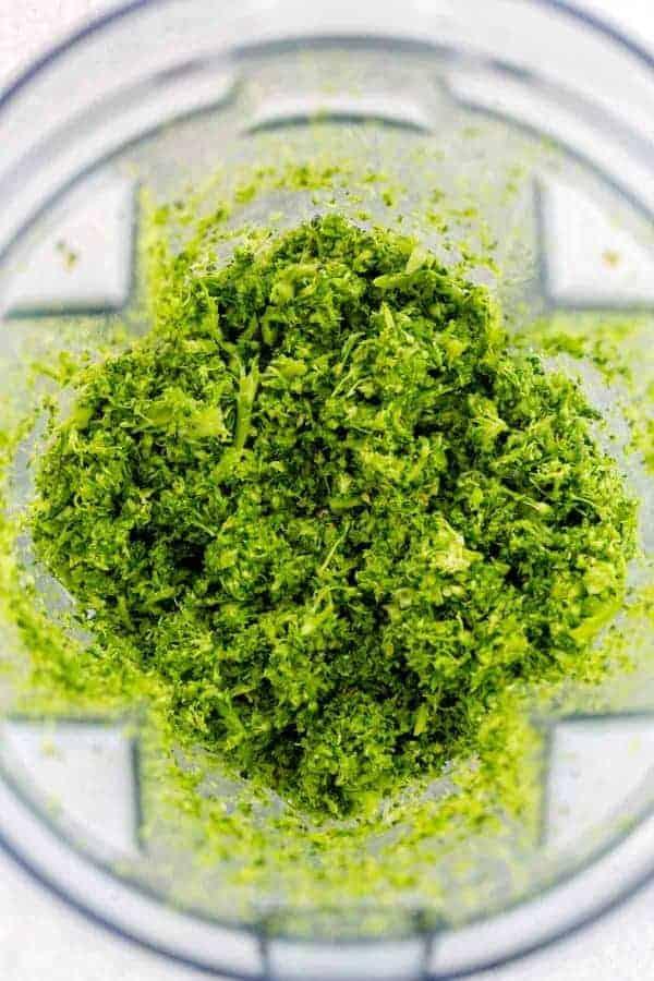 Broccoli rice inside a blender