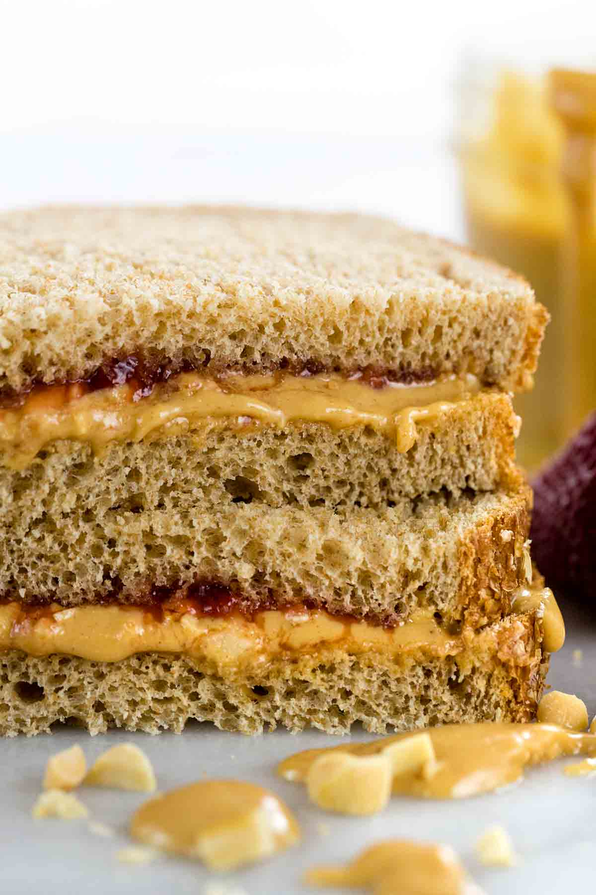 Stack of peanut butter and jelly sandwiches
