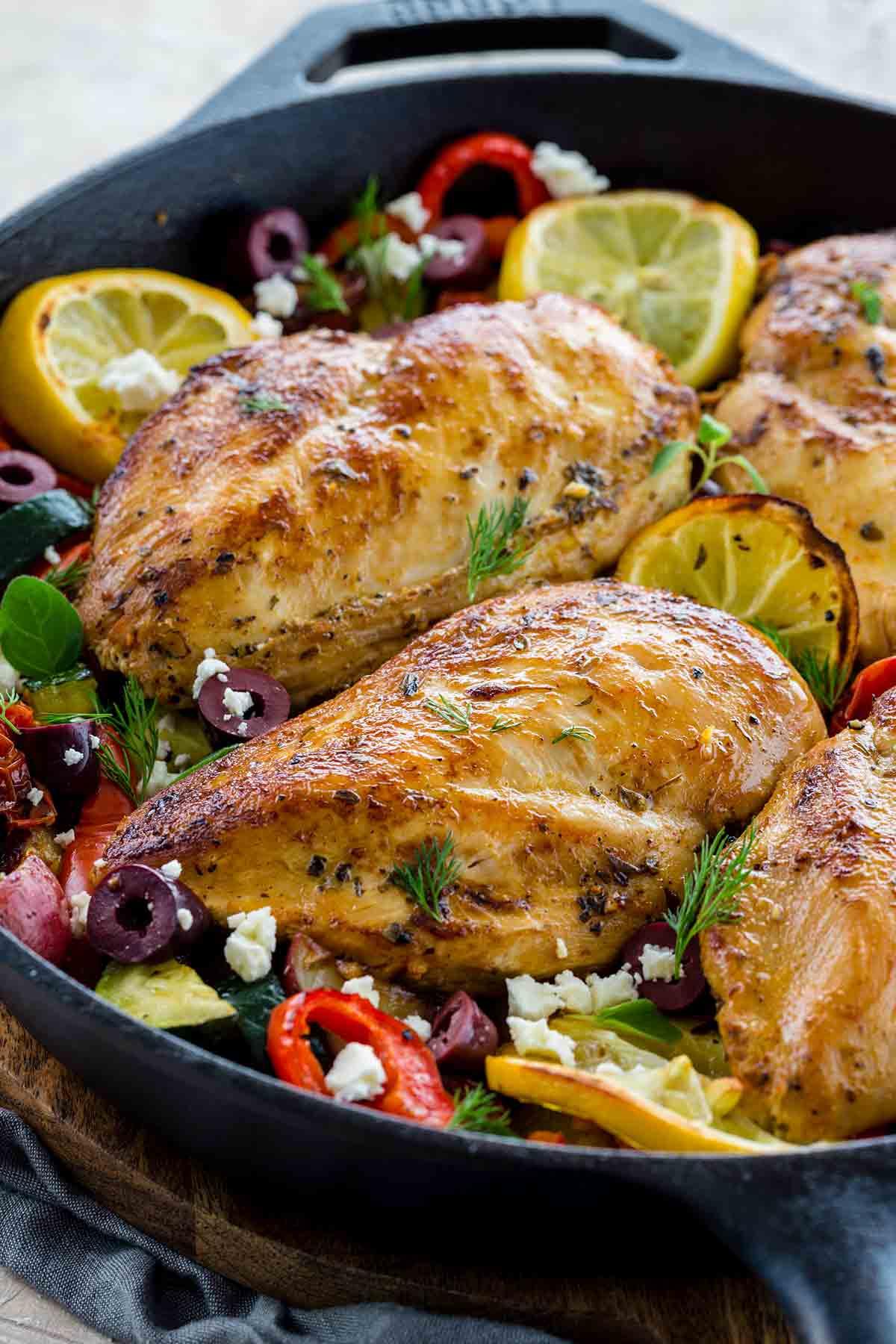 Greek chicken dinner prepared all in one pan