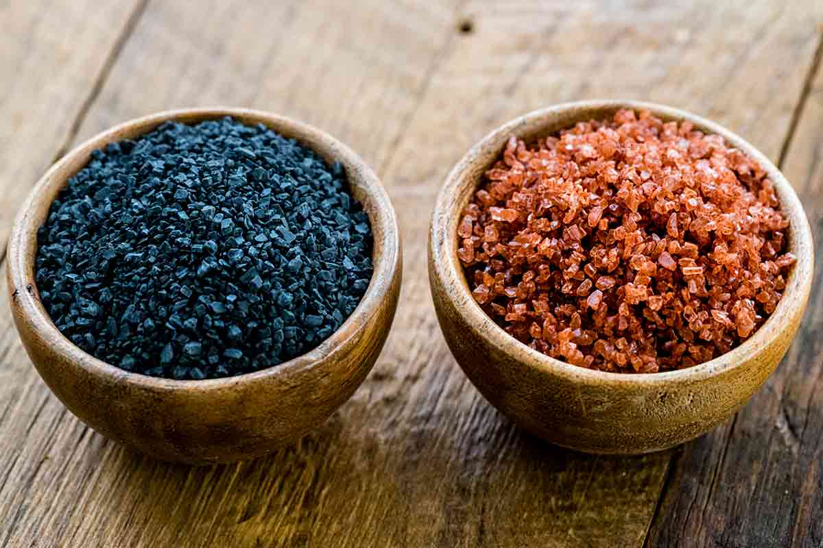 Two jars of Black and Red Hawaiian Salt