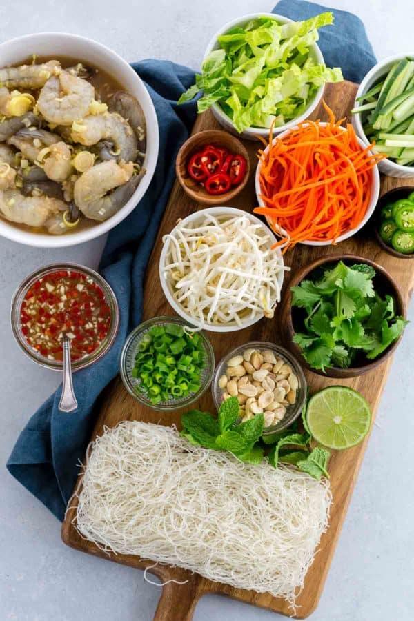 Pre-portioned ingredients for Vietnamese shrimp salad