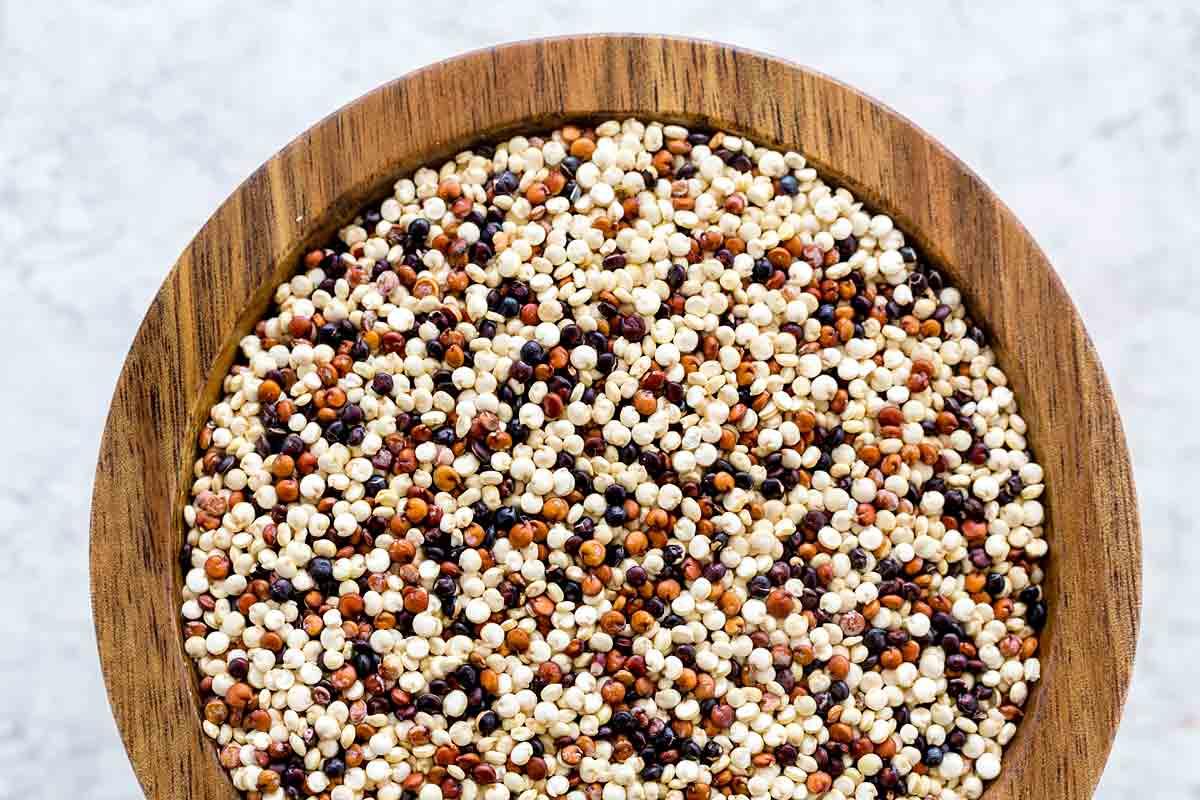 Bowl of uncooked quinoa