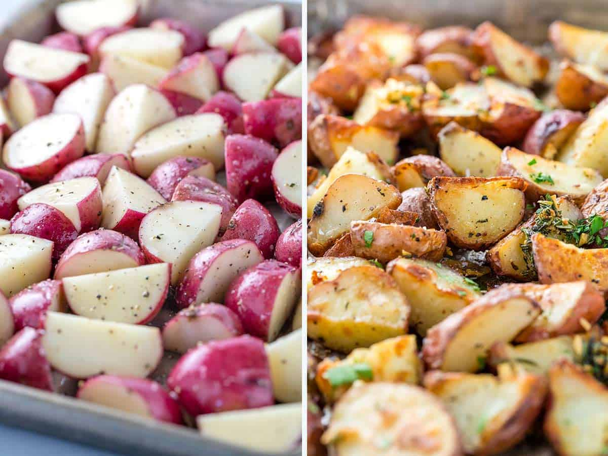 before and after photo of roasted potatoes on a sheet pan