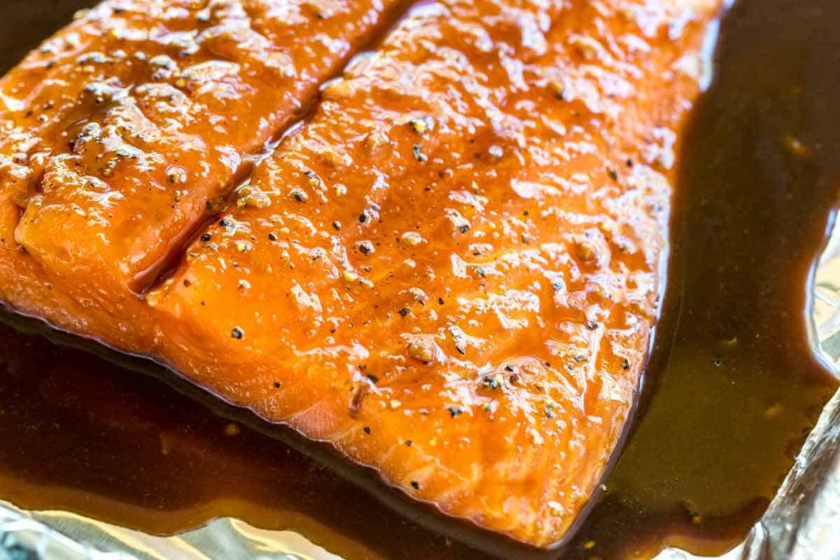 Salmon fillet marinating in sauce