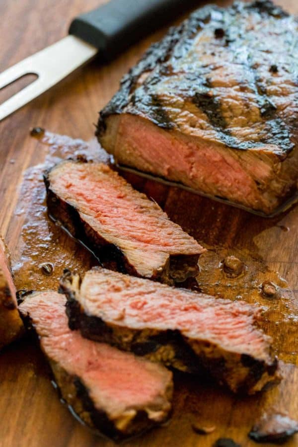 Juicy New York Strip steak slices on a cutting board