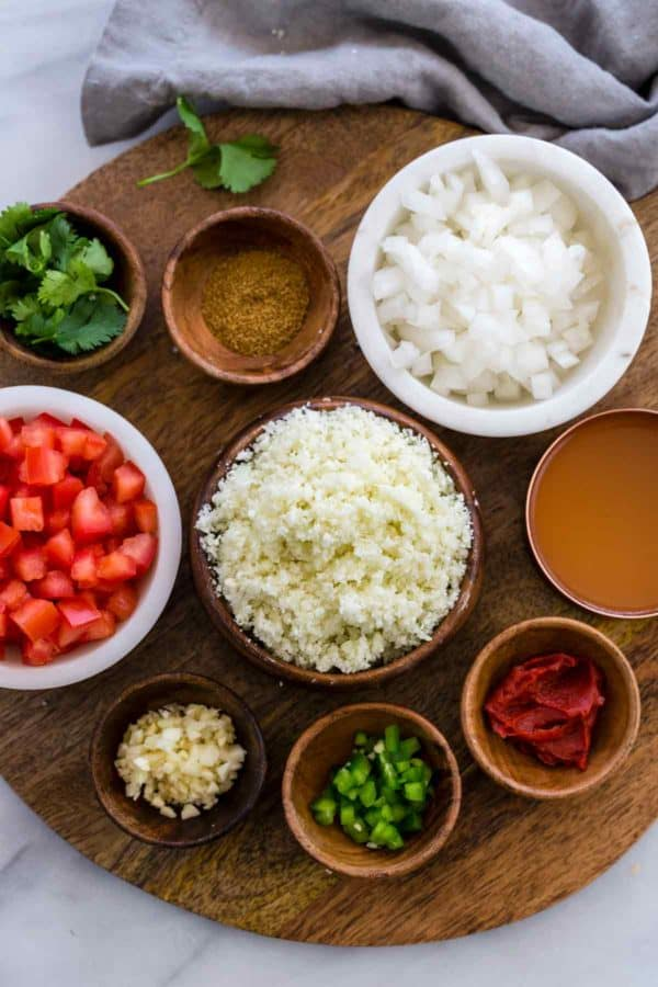 pre-portioned ingredients to make mexican cauliflower rice