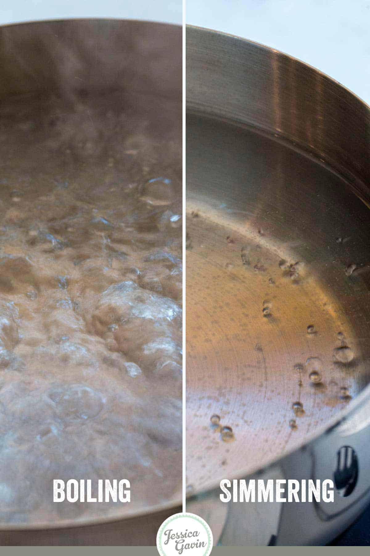 Side-by-side comparison of boiling water vs simmering water