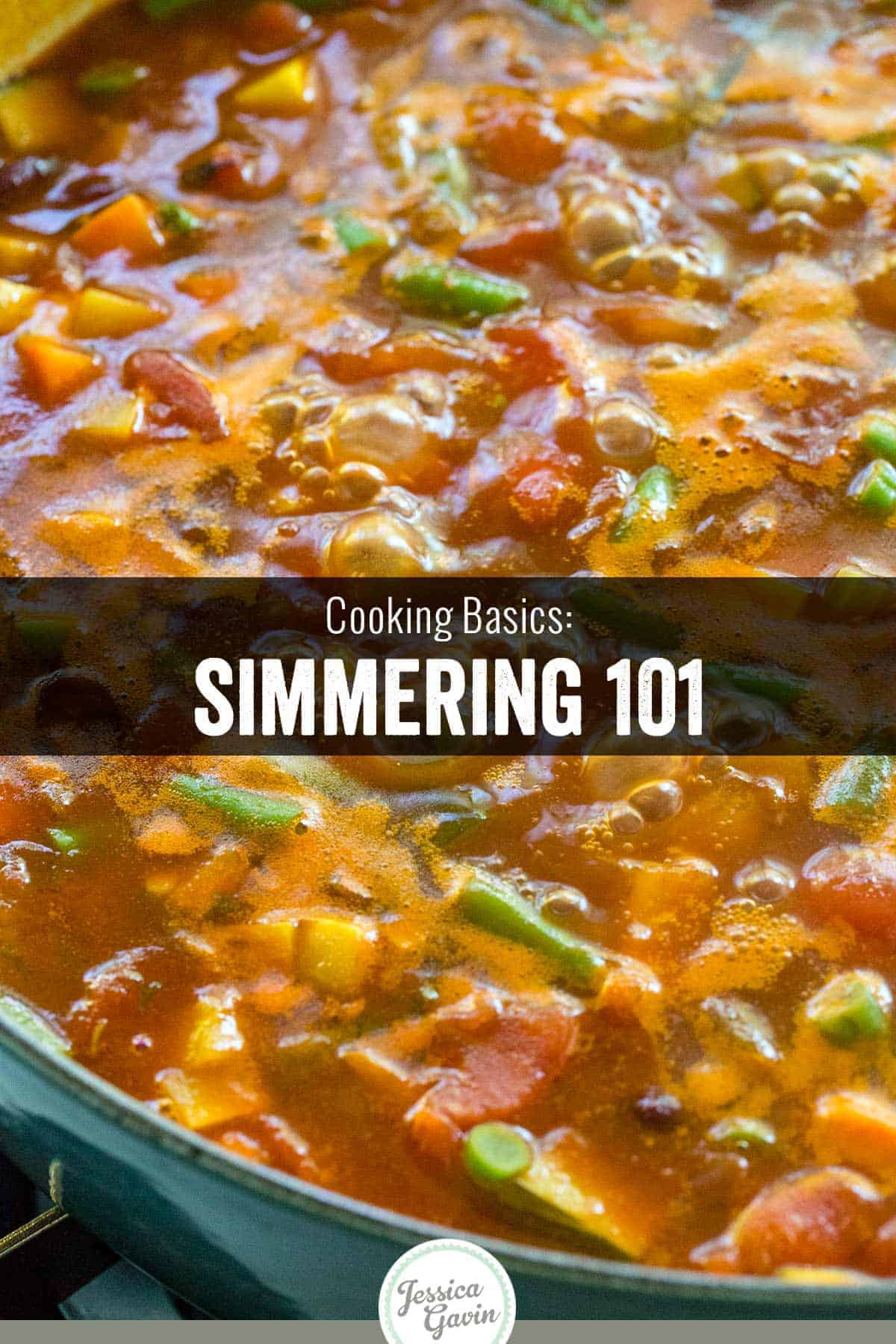 Simmering is a way to cook food gently and slowly (between 190 to 200 degrees). It\'s gentler than boiling but a little more aggressive than poaching. #cooking #foodscience #simmer #cookingmethod