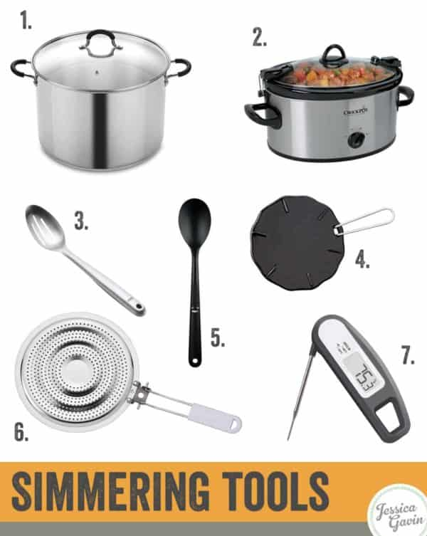 Infographic showing tools necessary for simmering water