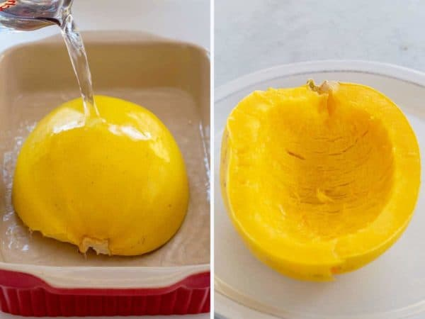 water being poured on top of spaghetti squash in a baking dish