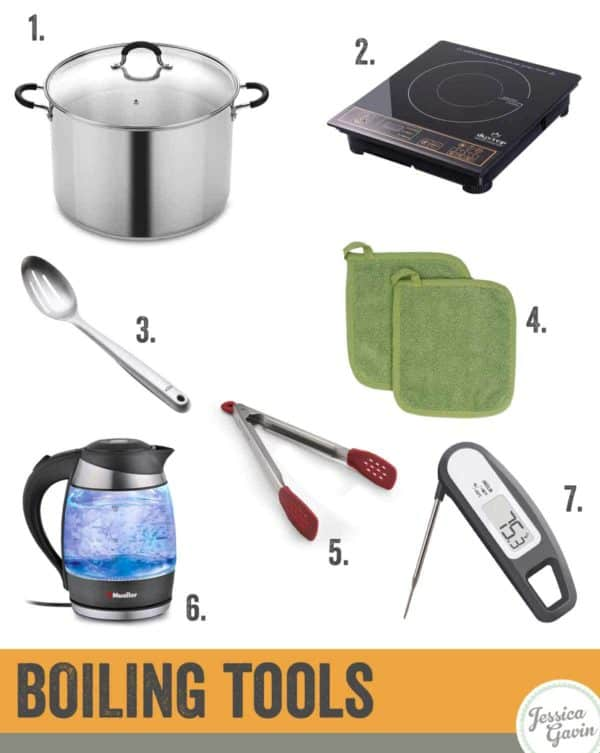Infographic showing tools necessary for boiling water and food
