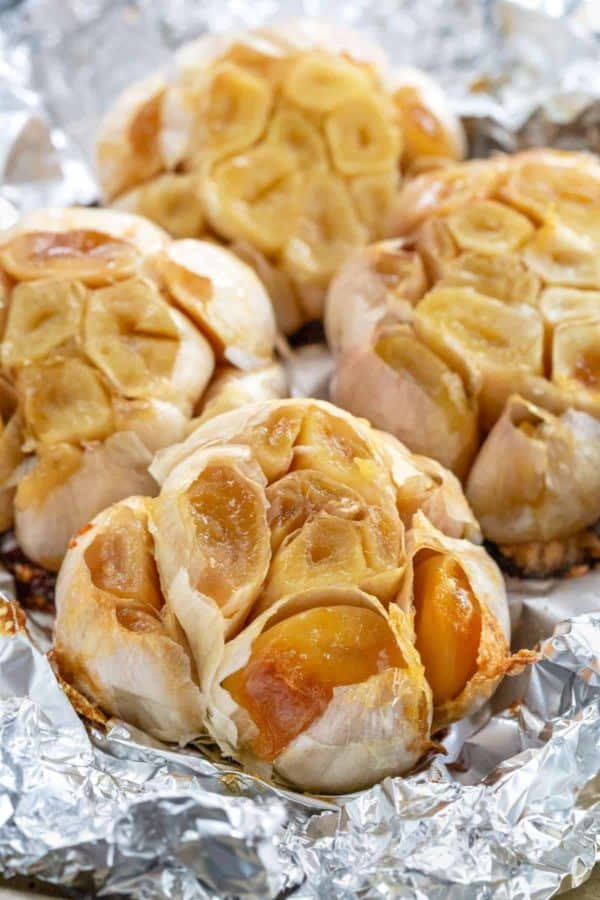 roasted garlic cloves removed from aluminum foil wrap