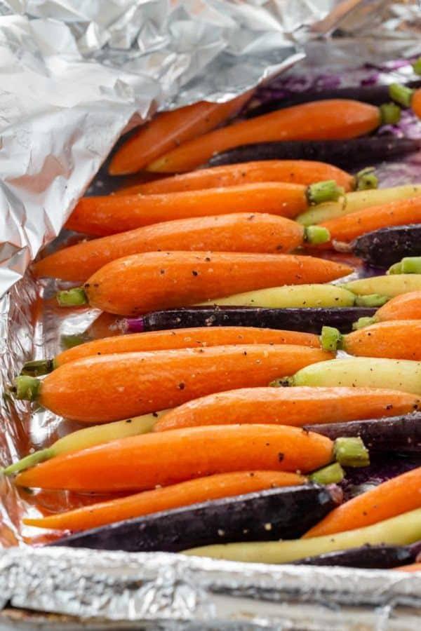 carrots cooked under aluminum foil