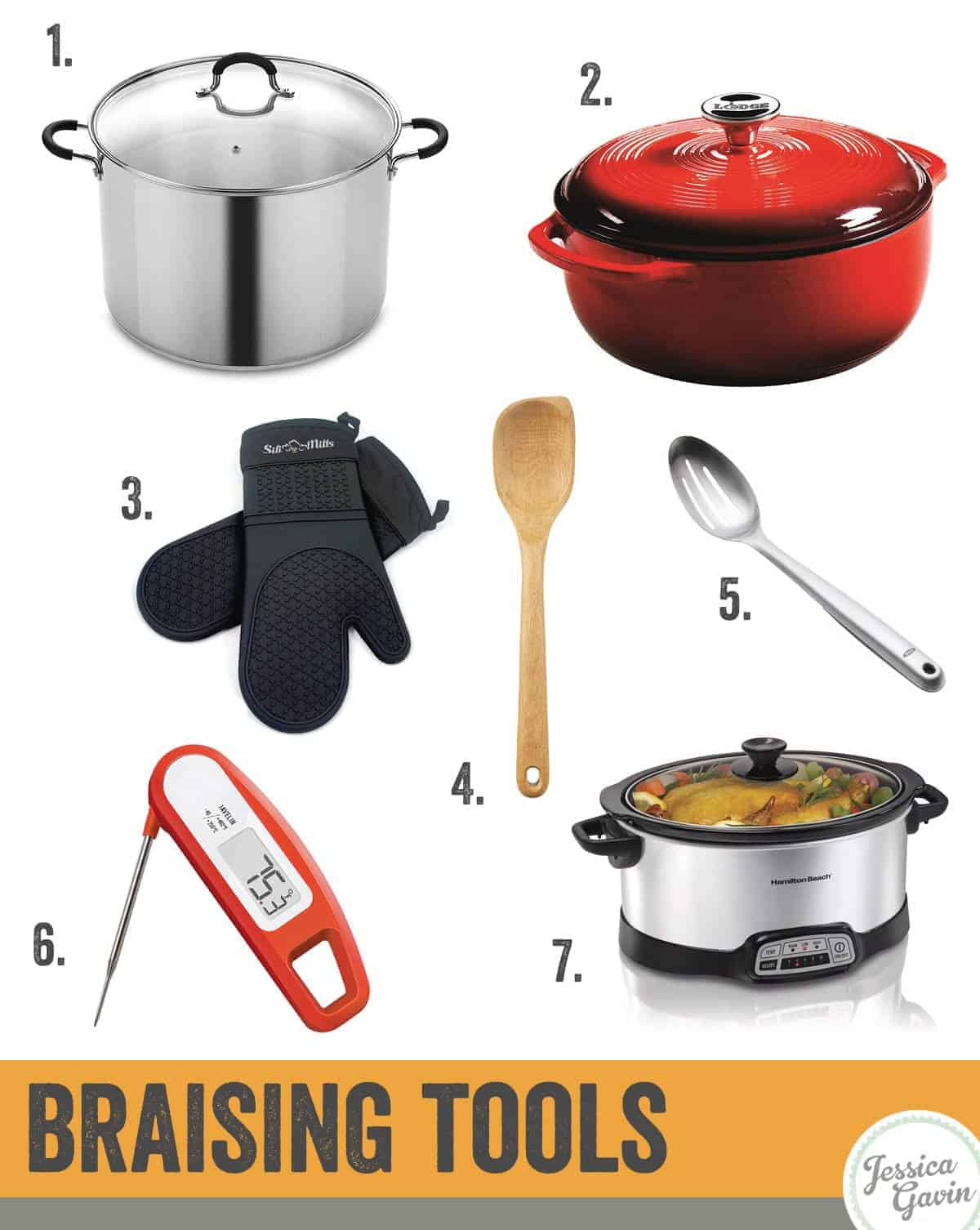 infographics showing different kitchen tools for braising