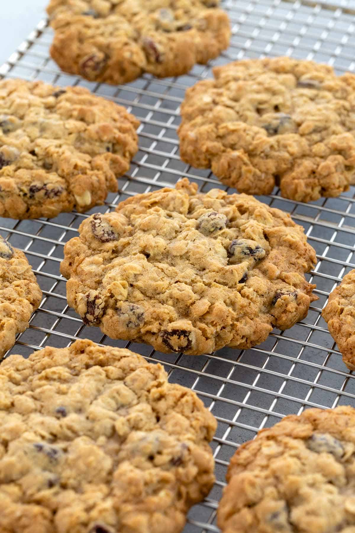 oatmeal raisin cookies cooling on a wire rack