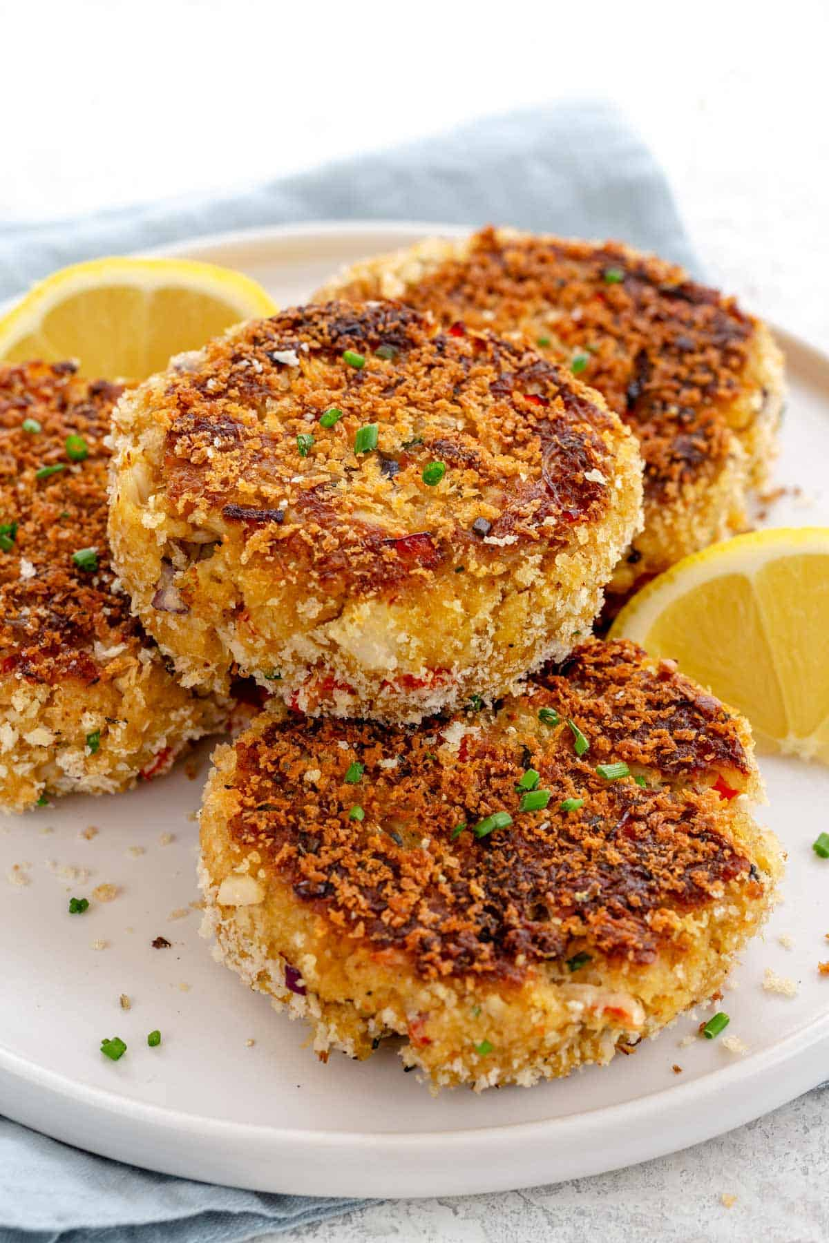 stack of crab cakes with crispy brown surface