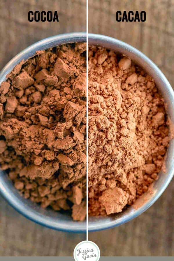 side by side comparison of the difference between cocoa and cacao