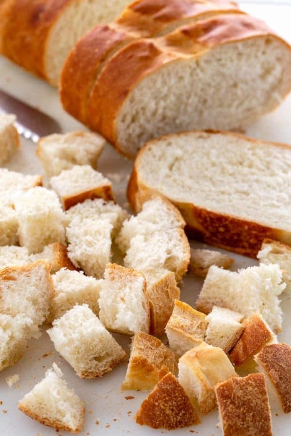 pieces of bread cut into small cubes
